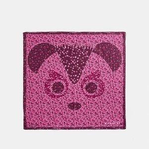 Coach Bear Floral Print Bandana Scarf Silk Cotton